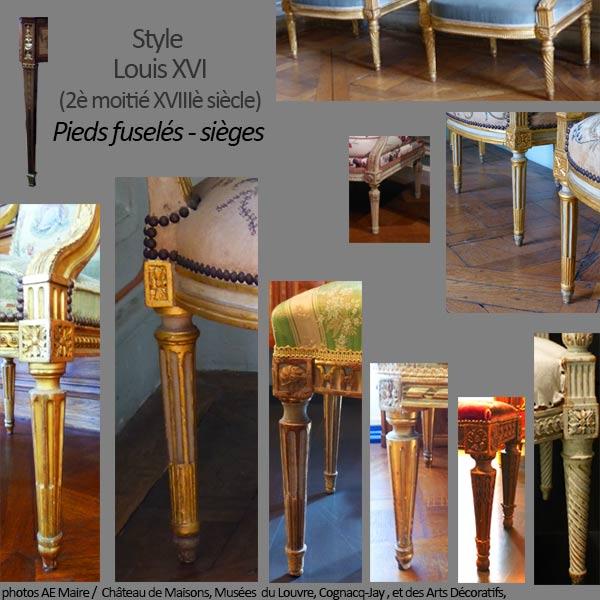 mobilier Louis XVI pieds fuselés sièges ecoutelebois