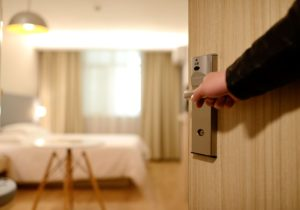 hotel room open door