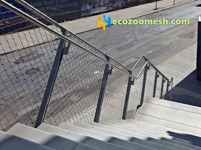 Wire Rope Mesh Railing Stainless Steel Railing Wire Rope Mesh | Wire Mesh Stair Railing | Exterior Perforated Metal | Galvanized Mesh | Staircase | Modern | Mesh Balustrade