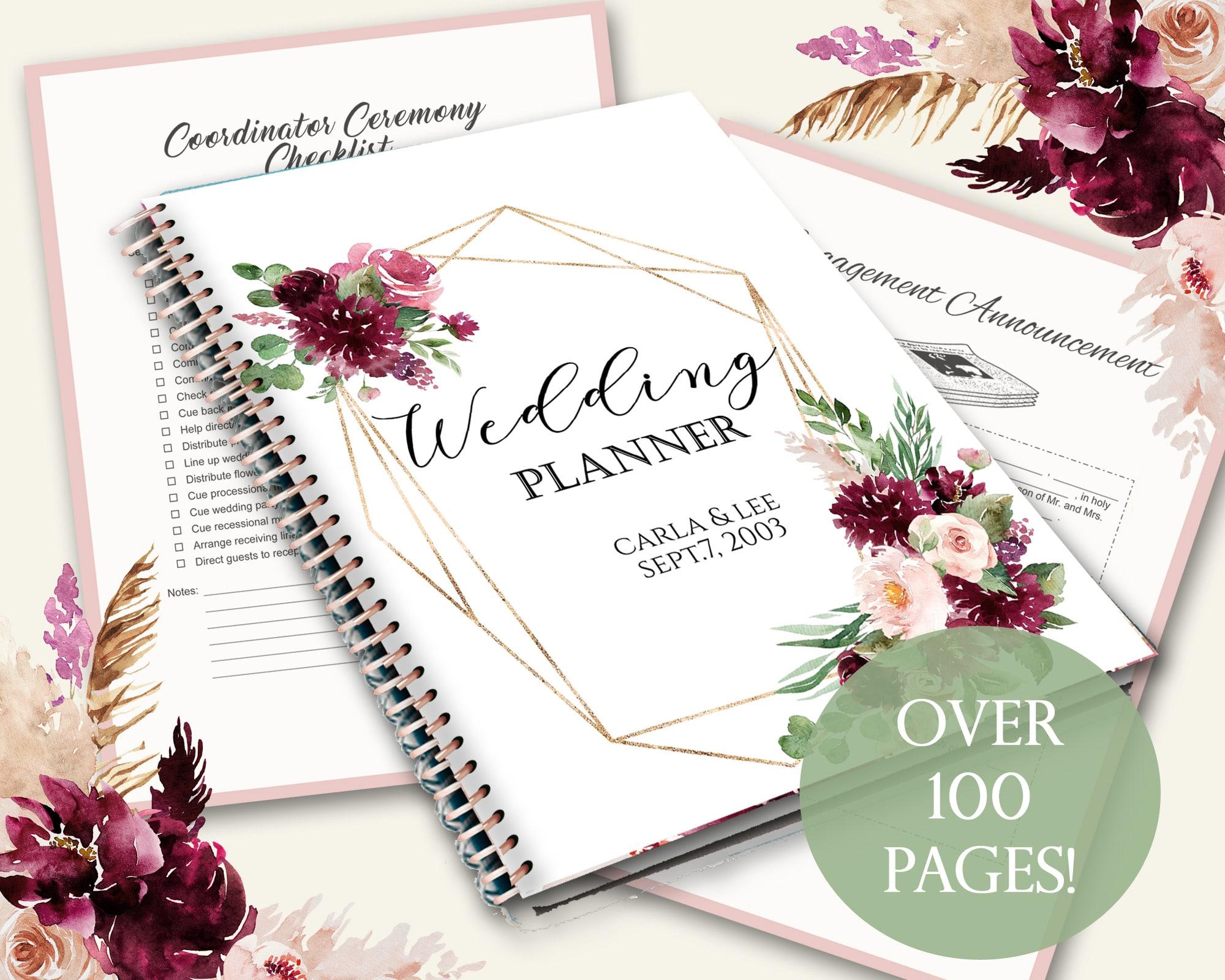 Printable Wedding Planner Kit With Editable Cover Page