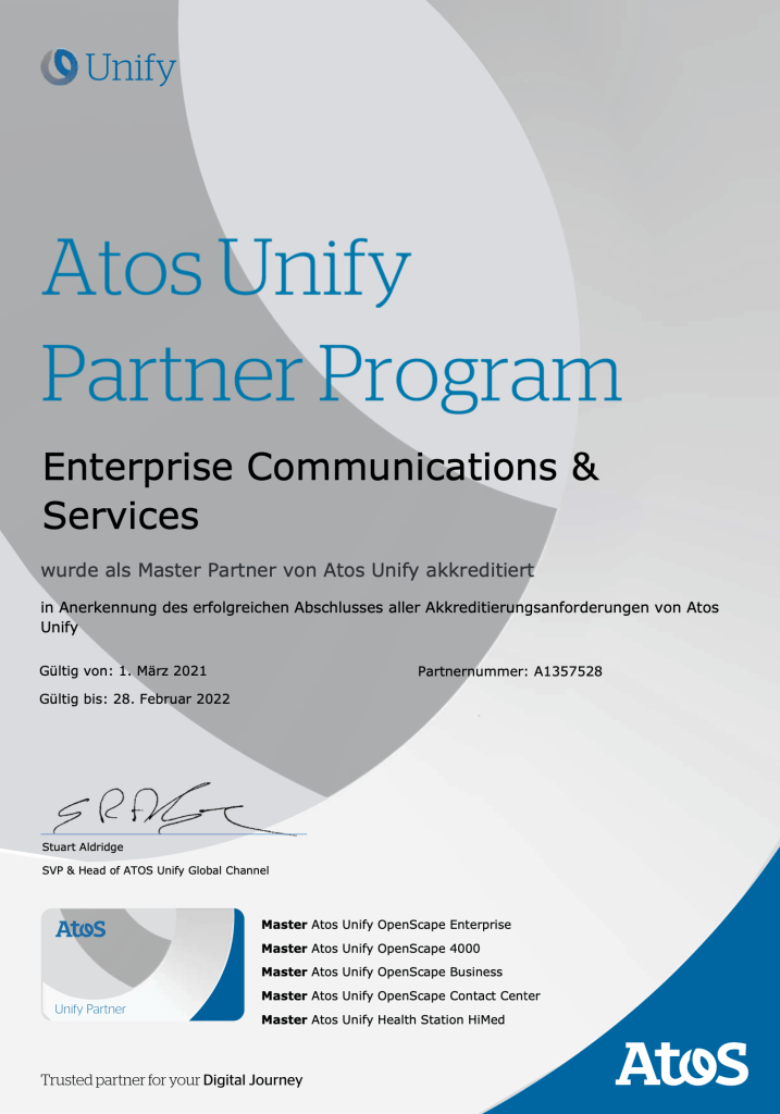 Enterprise Communications Services - Master Unify ATOS