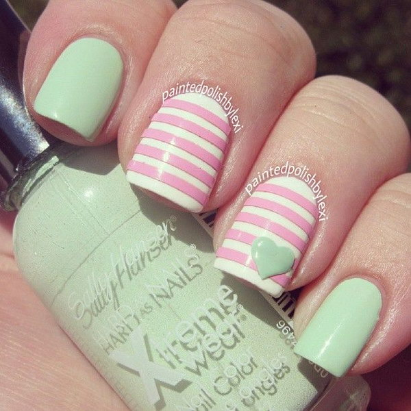40 elegant and amazing green nail art designs that will inspire mint green and light pink pastel nail art design prinsesfo Gallery