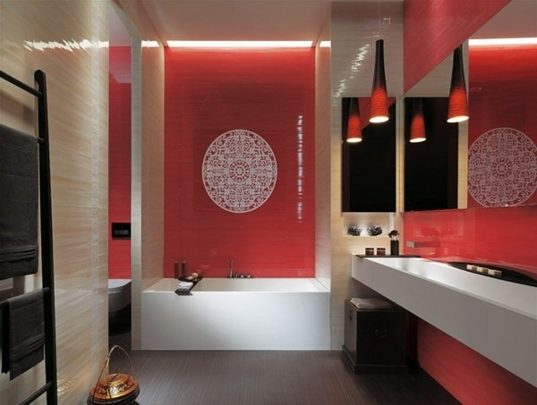 A Beautiful Design With Red Accent Wall