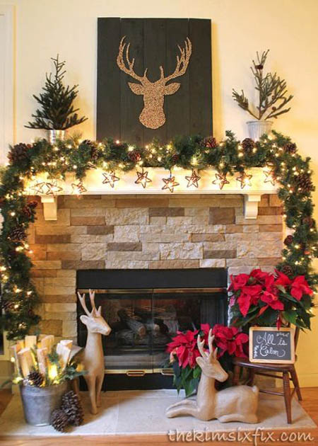 stunning rustic christmas decor ideas all reindeer mantle decoration - Rustic Christmas Decor