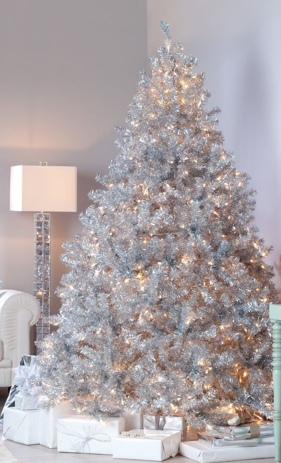 amazing and creative amazing silver design christmas tree - White Christmas Tree Decoration Ideas