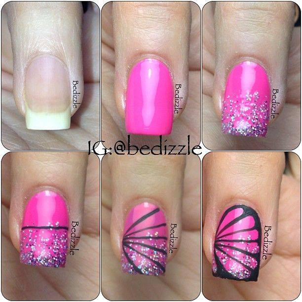Butterfly Nail Designs Step By Step: 50 Cute & Easy Nail Art Tutorials Just For You » EcstasyCoffee