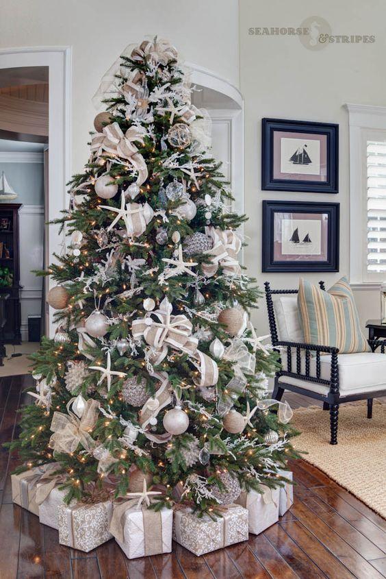 coastal chic designer christmas tree - How To Decorate A Designer Christmas Tree