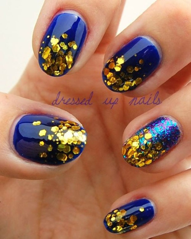 Blue Nail Polish With Gold Glitter - Absolute cycle