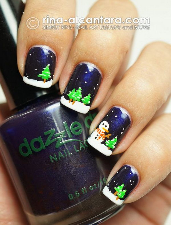 30 cutest christmas nail art ideas christmas trees and snowman nails prinsesfo Images