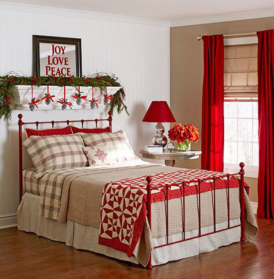 Rooms Decoration: 43 Beautiful Christmas Bedroom Decorations Ideas