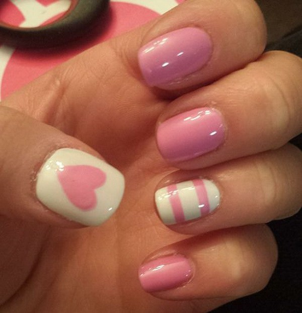 37 Cute Valentine Day Pink Nail Art Design Ideas Ecstasycoffee