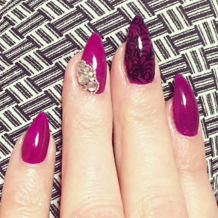 Purple Nail Designs With Rhinestones Splendid Wedding Company