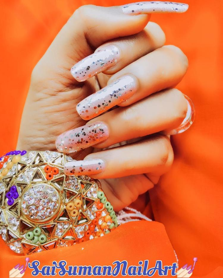 Nail Art Simple 2 Warna: 45 Trendy Sparkly Nail Art Ideas To Remain In Style