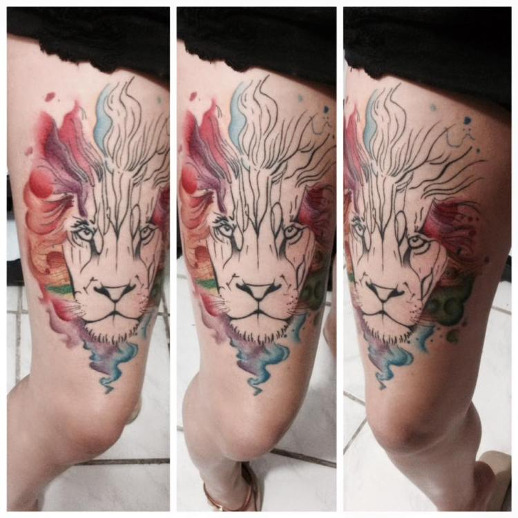 #tattoo #lion #liontattoos #watercolor #watercolortattoos #colorful #colorfultattoos