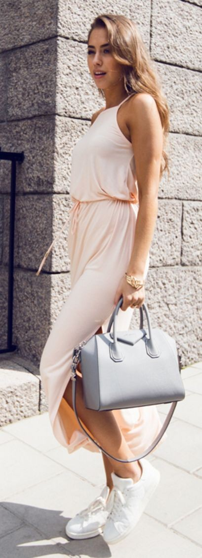 Apricot Maxi Dress + White Sneakers