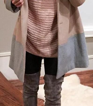 Pink Top + Brown Coat + Dark OTK Boots
