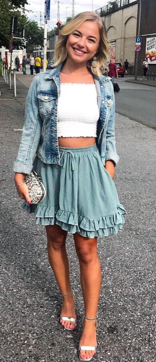 Denim Jacket + White Off The Shoulder Crop Top + Blue Skirt