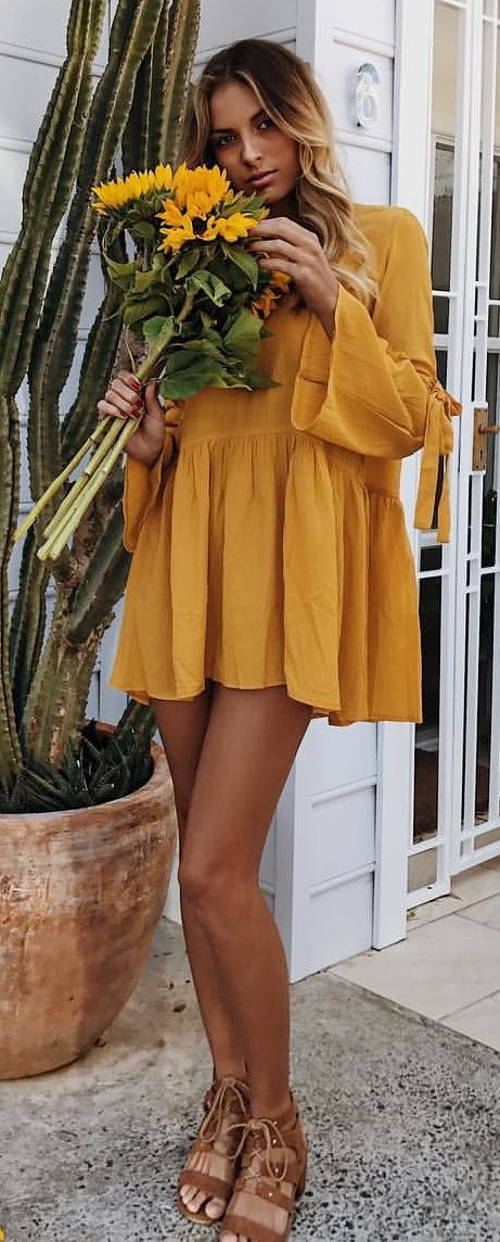Mustard Dress + Brown Sandals