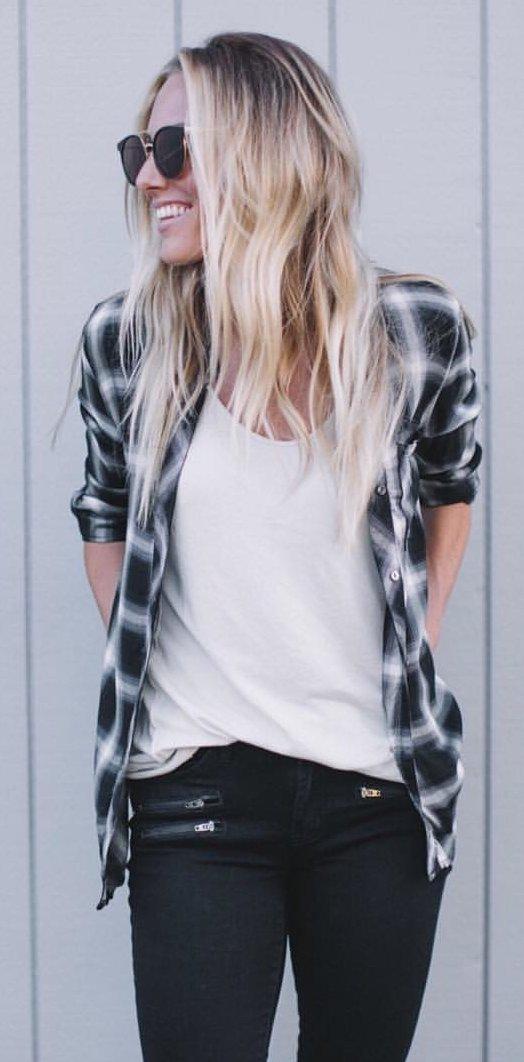Plaid Shirt + White Tee + Black Skinny Jeans