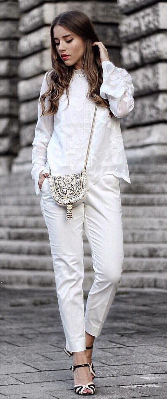 White Blouse + White Pants