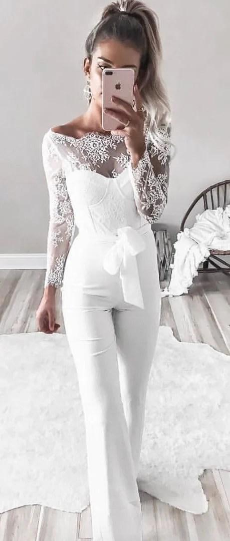 White Lace Top + White Pants
