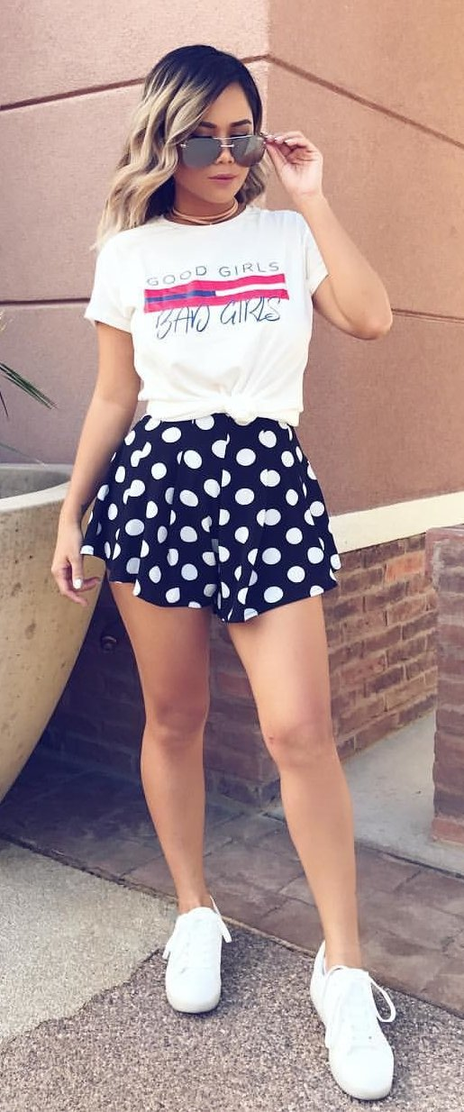 White Printed Tee + Black Dotted Short + White Sneakers
