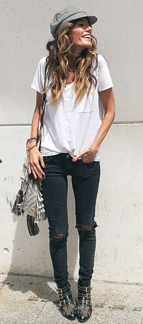 White Tee + Black Ripped Skinny Jeans