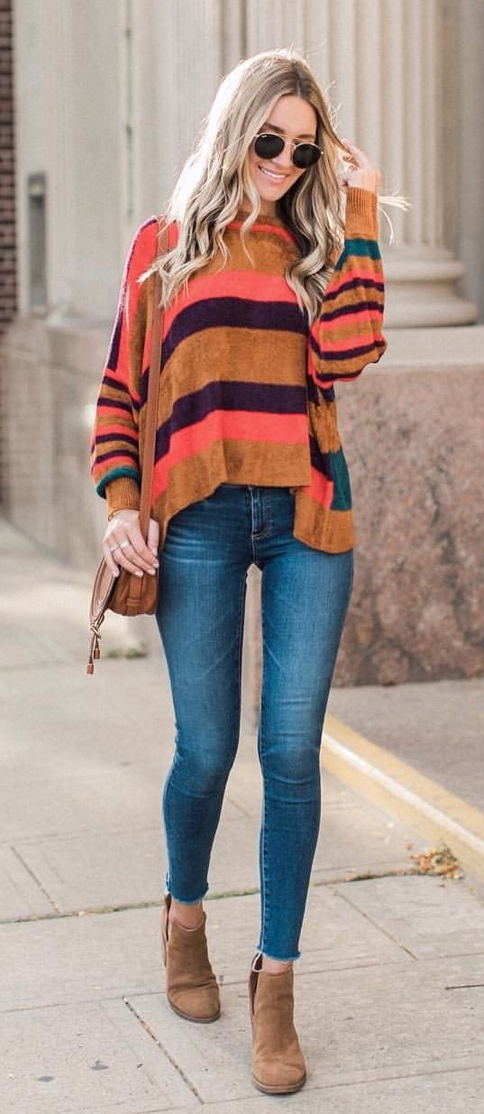 women's beige and multicolored striped sweater