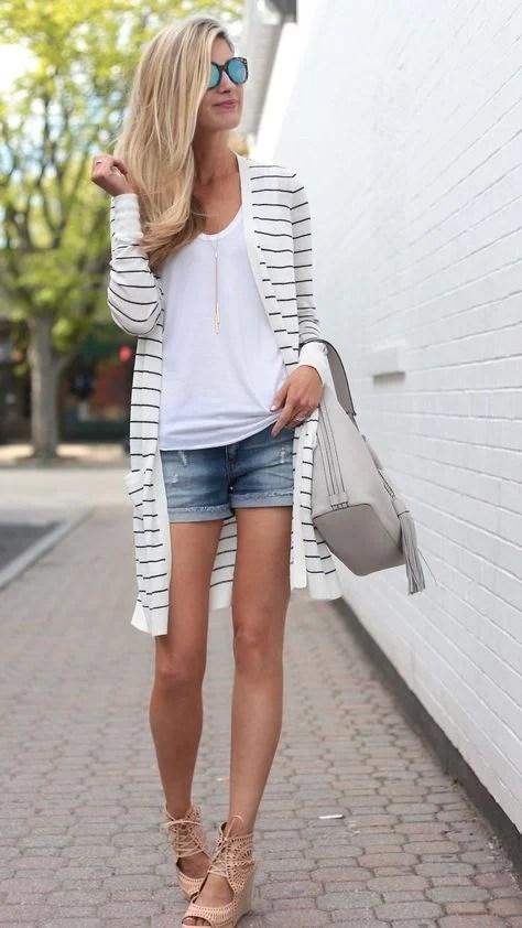 Striped duster cardigan with denim cutoffs