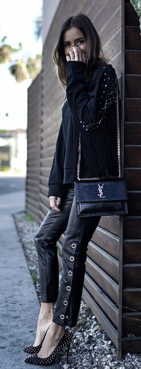 black Yves Saint Laurent sling bag