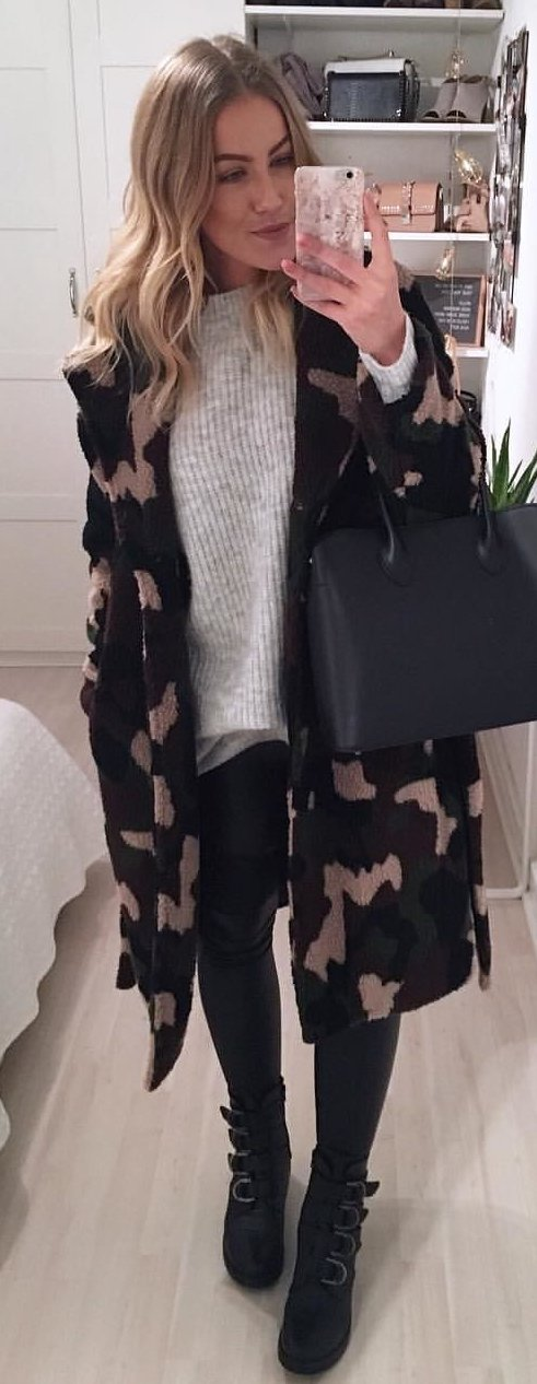 black, green, and brown camouflage coat