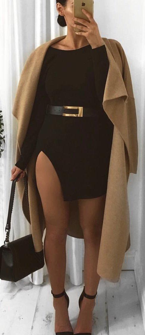 black long-sleeve sheath dress