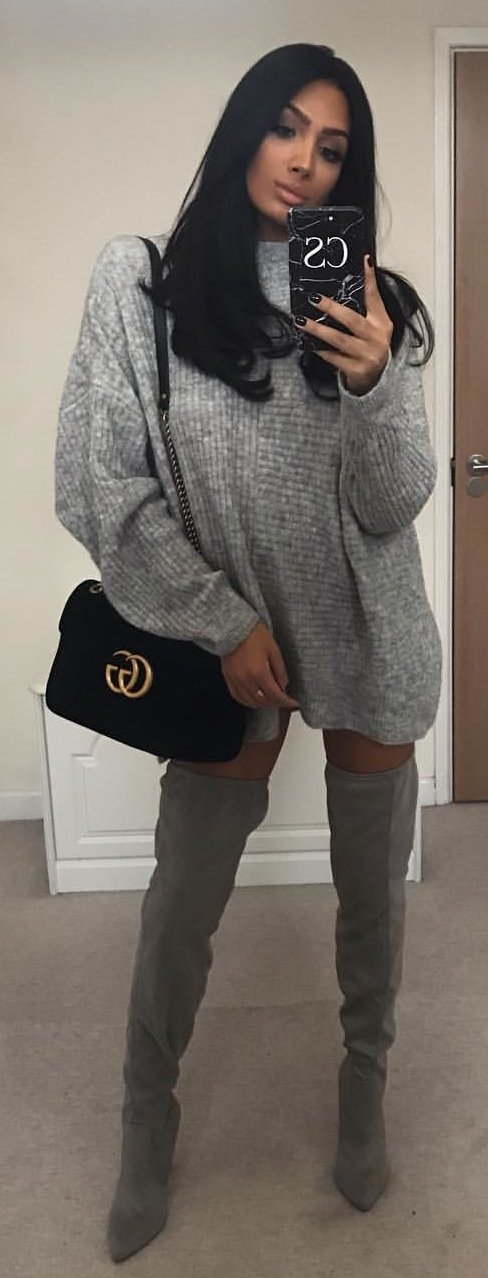 gray crew-neck sweater and gray leather thigh-high boots