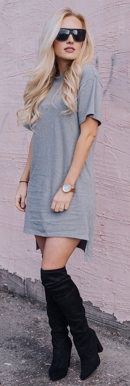 grey dress and black knee-high boots