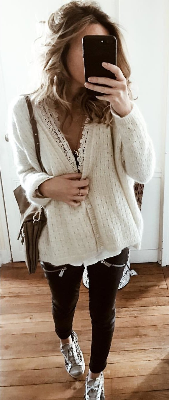 white cardigan and black pants outfit