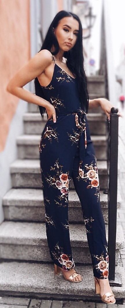 women's blue and red floral spaghetti-strap jumpsuit