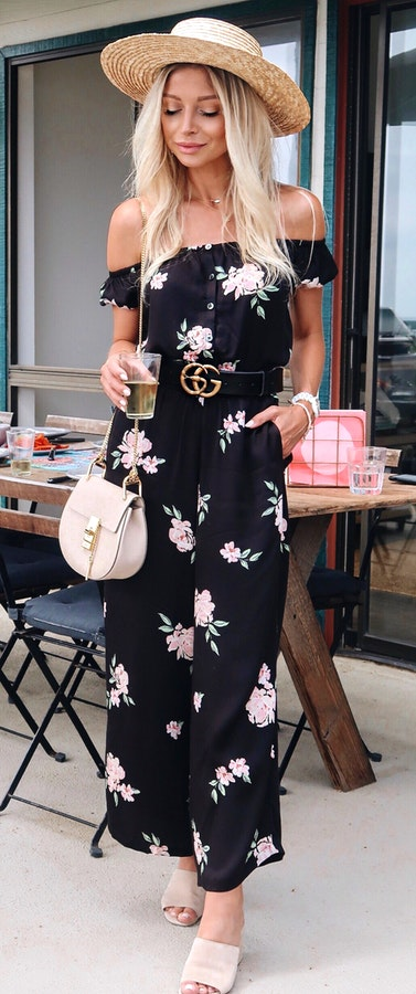 3ebcc70b712f  1 Black and white floral off-shoulder rompers. Pic Source