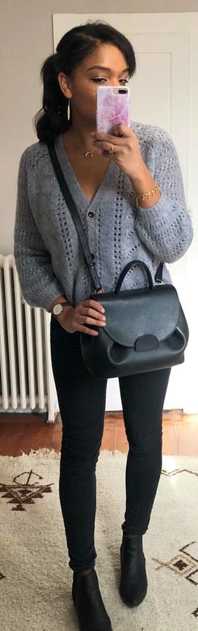 4c8473509561  1 Leather c + Crochet grey button-up long-sleeved shirt + Black leggings +  Black leather crossbody bag. Pic by  inesndn Source