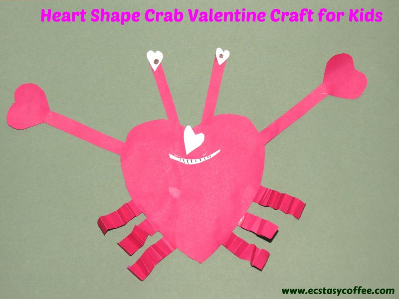 Select 2 different shades of orange colored craft papers for the crab papercraft. Easy Heart Shape Crab Valentine Craft For Kids