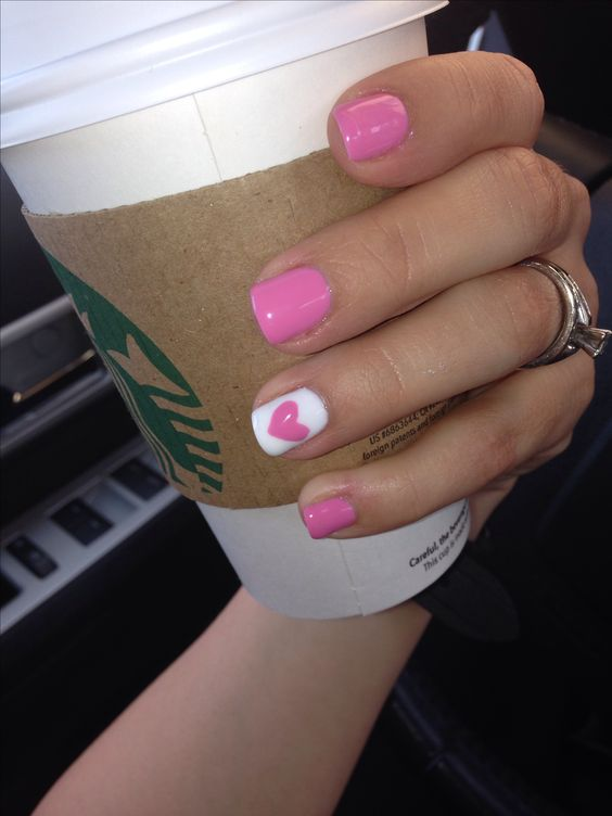 Pink Nails for Valentines.
