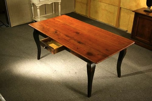 Pine Dining Table With Brown Cherry Finish With Black