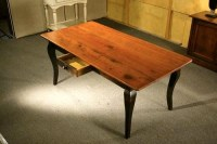 Pine Dining Table With Brown Cherry Finish With Black ...