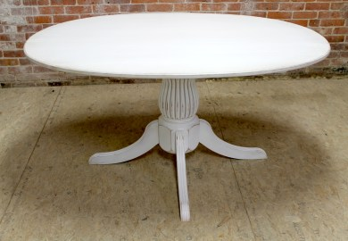 White Pedestal End Table
