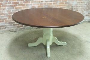 "54"" round rustic farm table   ECustomFinishes"