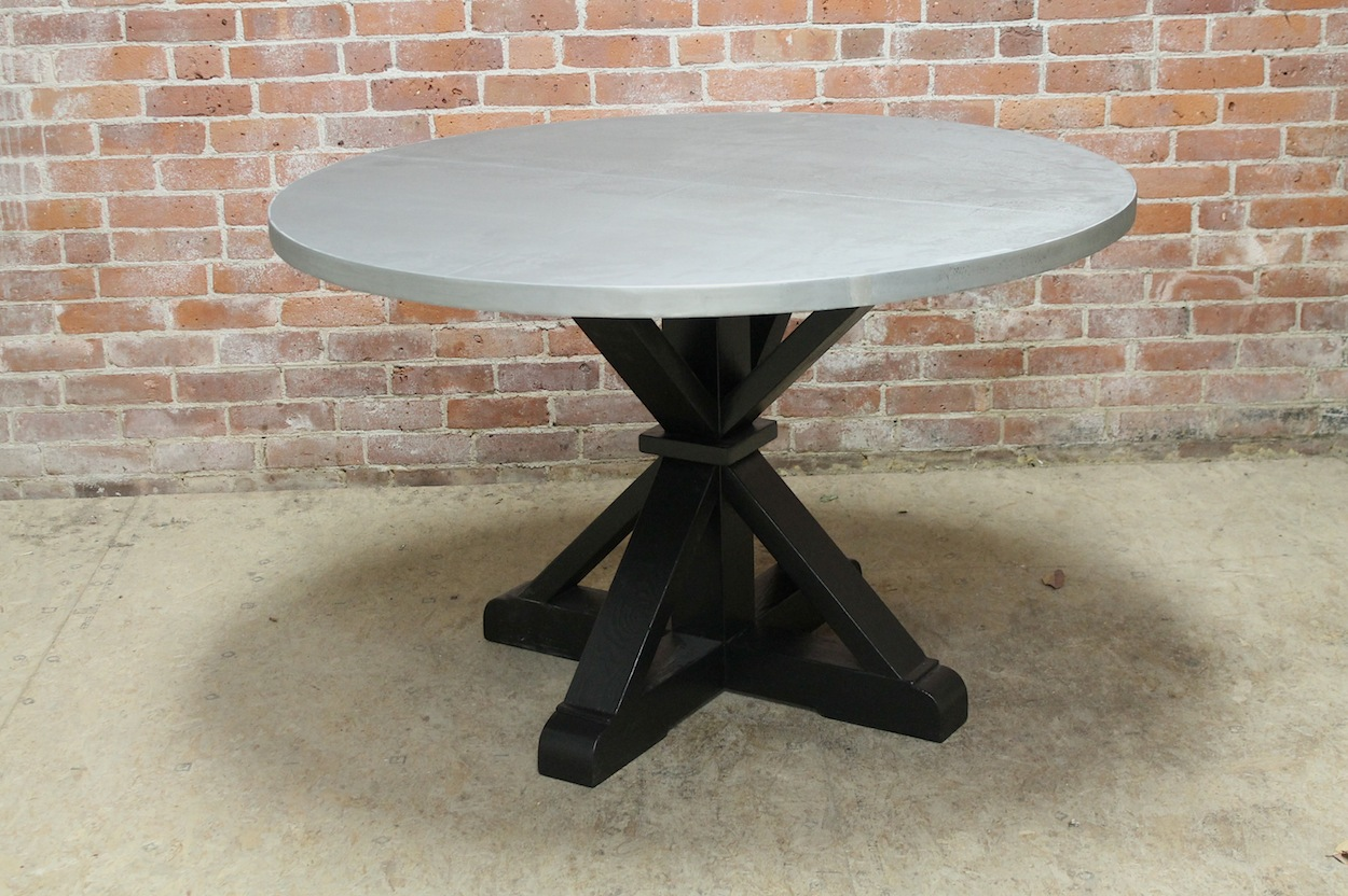 Round Zinc Table ECustomFinishes