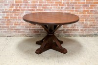 48 Round Oak Table In Brown Cherry Finish - ECustomFinishes