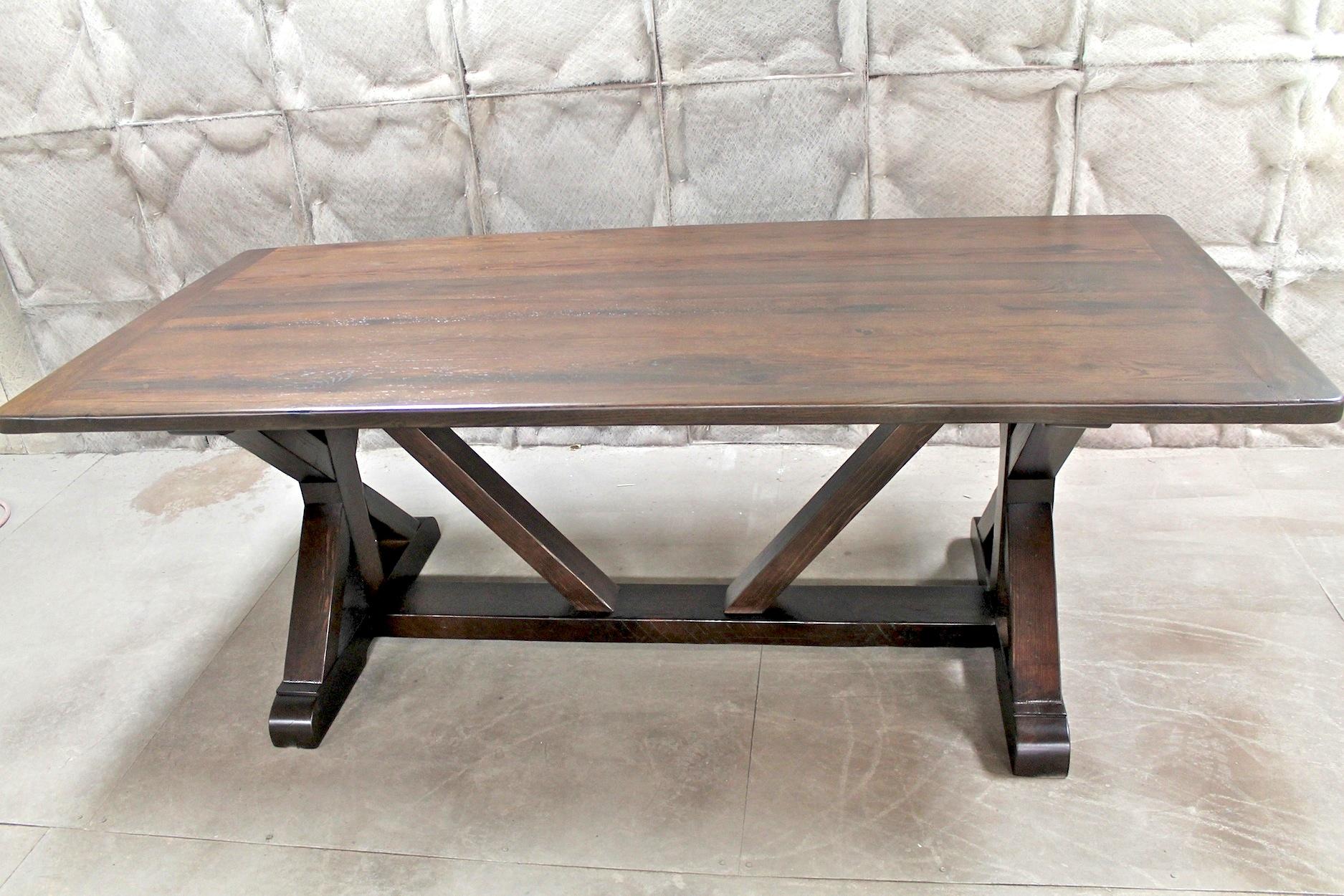 zinc kitchen table naples cabinets restoration hardware inspired x base trestle ...