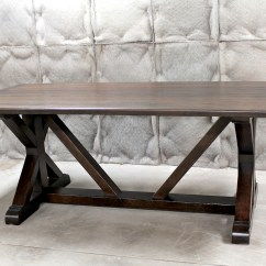 Oak Kitchen Table Mega System Restoration Hardware Inspired X Base Trestle ...