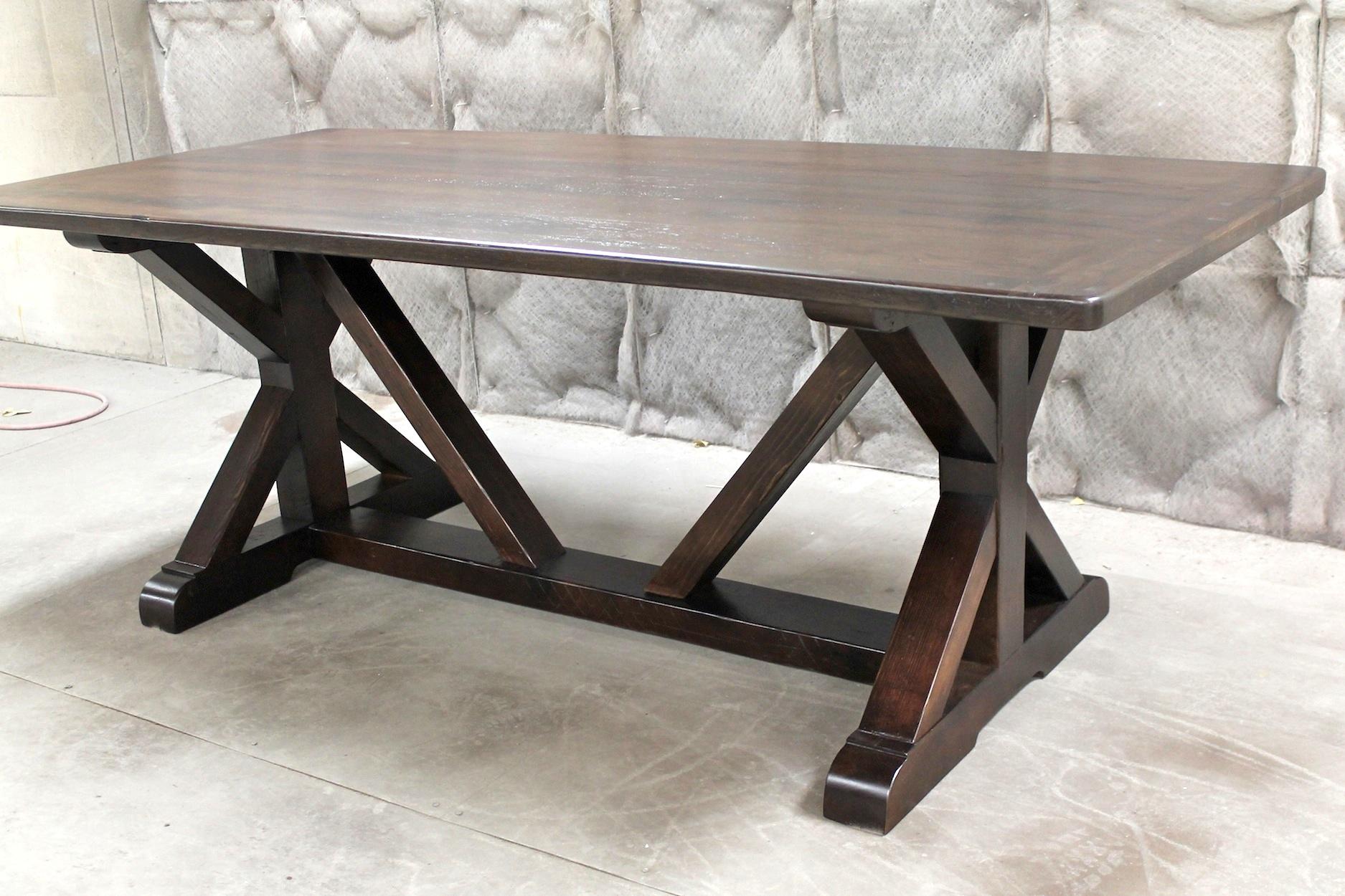 restoration hardware kitchen table light fixtures inspired x base trestle