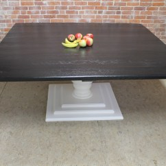 Square Pedestal Kitchen Table Drawers Or Cabinets In 72inch Black And White - Ecustomfinishes